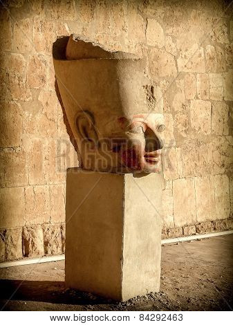 Bust Of Hatshepsut In A Courtyard Of His Temple At Deir El-bahar