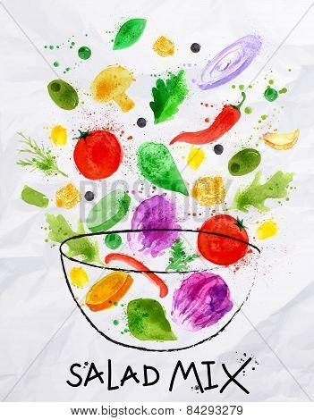 Poster salad mix watercolor