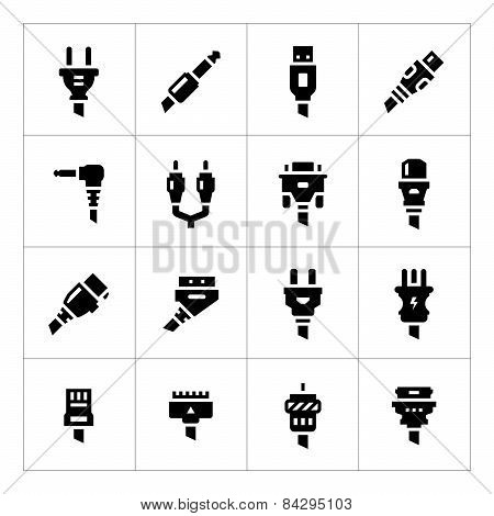 Set icons of plugs and connectors isolated on white poster