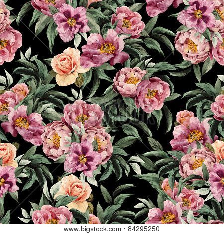 Seamless Floral Pattern With Red, Purple And Pink Roses On Black Background
