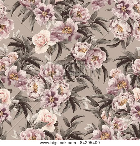 Seamless Floral Pattern With Red, Purple And Pink Roses On Light Background