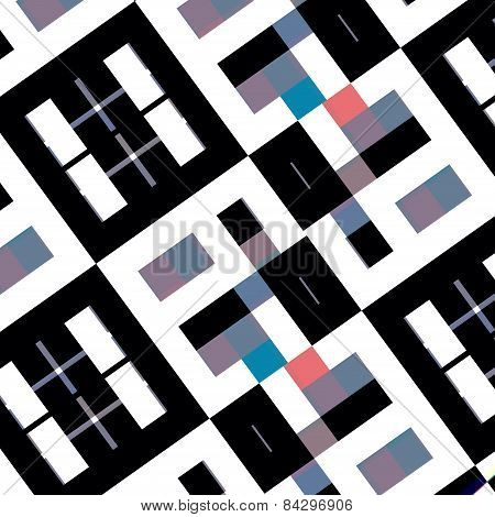Abstract black white shapes. Mosaic background. Weird art pattern. Pseudo binary 8 bit design.