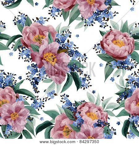 Seamless Floral Pattern With Pink Roses On White Background