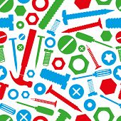 hardware screws and nails with tools color seamless pattern eps10 poster