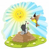 illustration, mole came out of burrow and presents bird rose flower poster