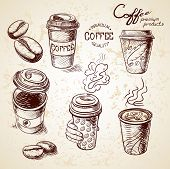 hand drawn doodle sketch vintage paper cup of coffee takeaway Menu for restaurant, cafe, bar, coffeehouse. poster