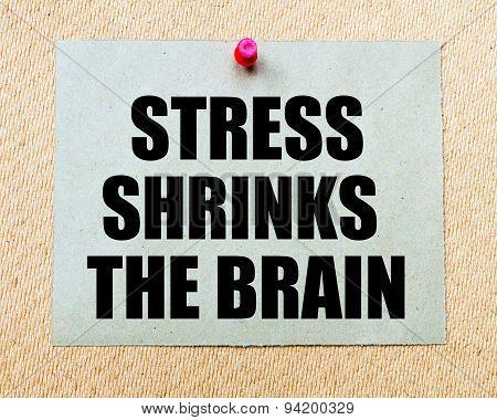 Stress Shrinks The Brain Written On Paper Note