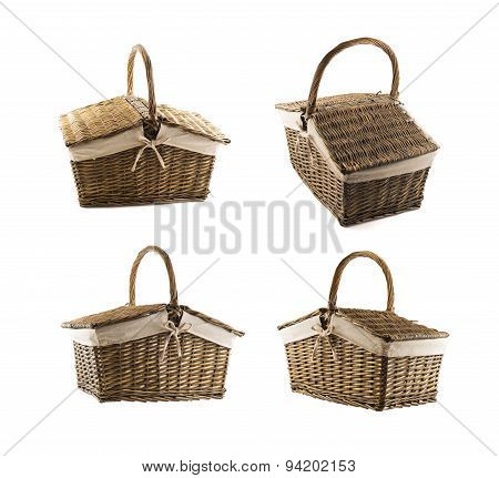Picnic basket hamper isolated
