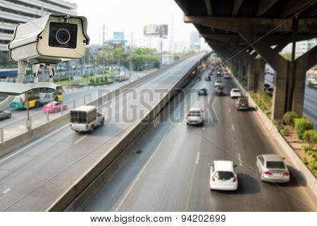 Cctv Camera Or Surveillance Operating On Traffic Road