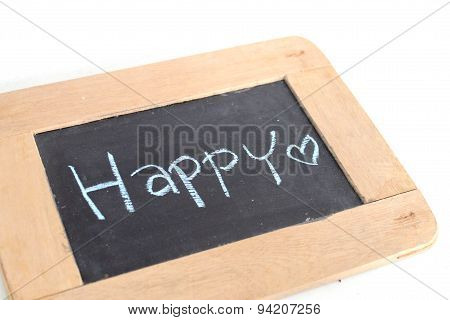 letter happy write on chalkboard