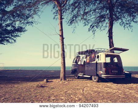 Volkswagen Kombi On The Beach