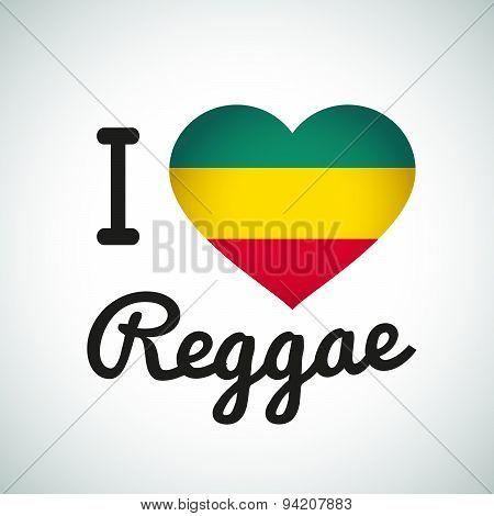 I love Reggae Heart illustration, Jamaican music logo design. Africa flag print
