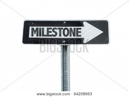 Milestone direction sign isolated on white