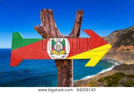 Rio Grande do Sul wooden sign with landscape background