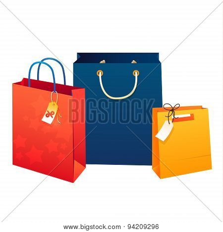 Sale poster  Illustration of paper shopping bags