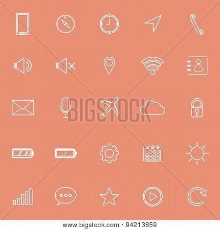 Mobile Phone Line Icons On Orange Background