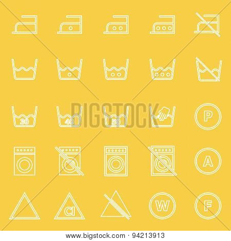 Laundry Line Icons On Yellow Background