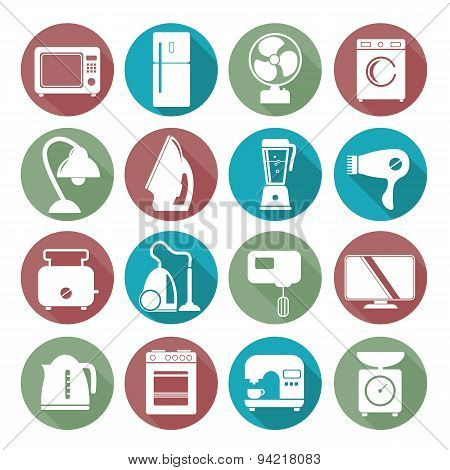 Set Of Household Appliances Flat Icons On Colorful Round Web Buttons With A Washing Machine Stove Fr