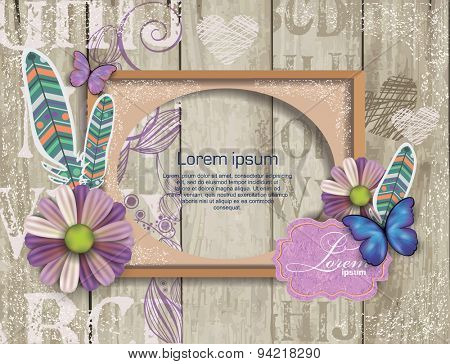 scrapbook elements on  wooden texture with frame