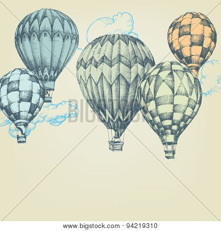 Hot air balloons in the sky background