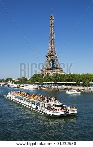 Riverboat And Eiffel Tower