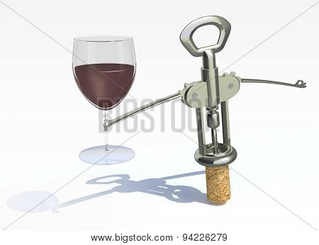 Corkscrew, Cork With Glass Of Red Wine
