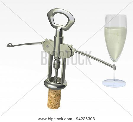 Corkscrew, Cork With Glass Of White Wine