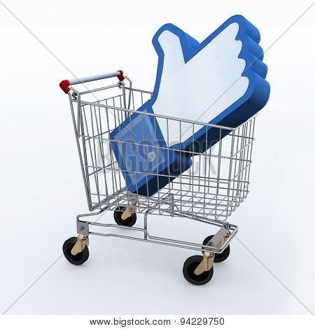 Shopping Cart With Big 3D Hand