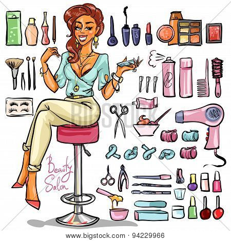 Beauty Salon cartoon collection.