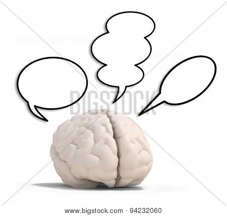 Human Brain With Three Speech Ballons