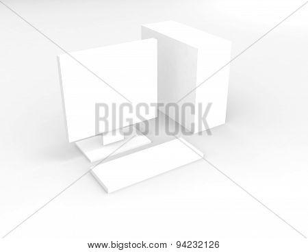 White Computer On White Background