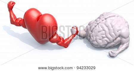 heart and human brain that make arm wrestling 3d illustration poster