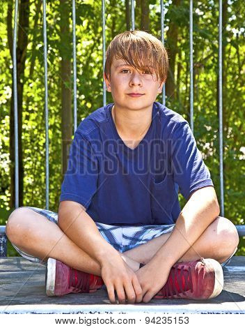 young boy sweating and exhausted from sports poster