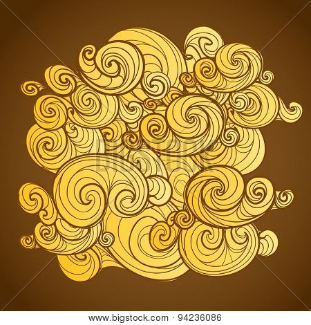 Background of yellow curled abstract clouds. Raster version