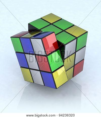 Rubik's cube on the light blue background