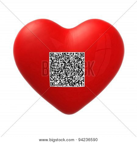 Red Heart With Qr Code