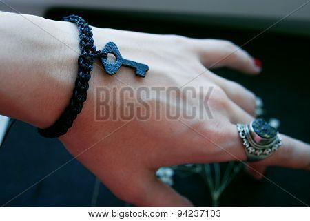 The black plaited bracelet