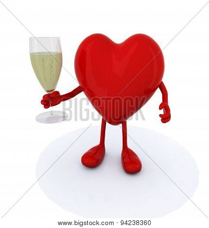 Heart Make Cheers With Glasse Of White Wine