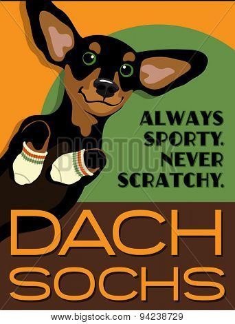Illustrated poster of a Dachshund dog and fictitious socks brand advertisement