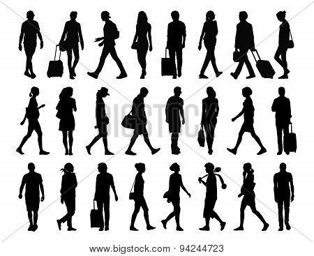 Big Set Of People Walking Silhouettes Set 4