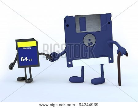 Floppy Disk And Memory Stick That Walk