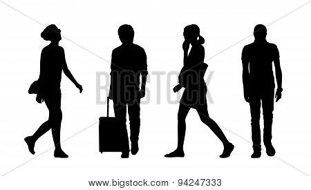 People Walking Outdoor Silhouettes Set 30