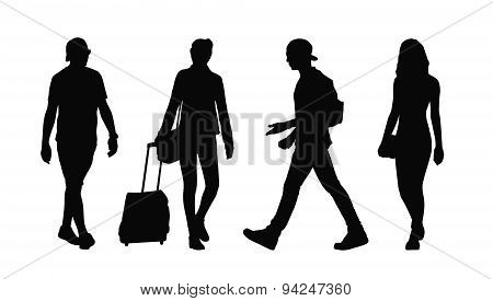 People Walking Outdoor Silhouettes Set 35