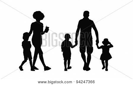 People Walking Outdoor Silhouettes Set 36