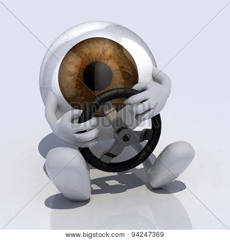 Eye With Arms And Steering Wheel Ca