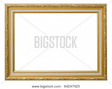 Beautiful Gold Vintage Frame Luxury Isolated White Background.