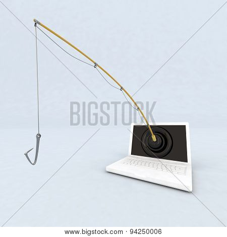 concept phishing on the web 3d illustration poster