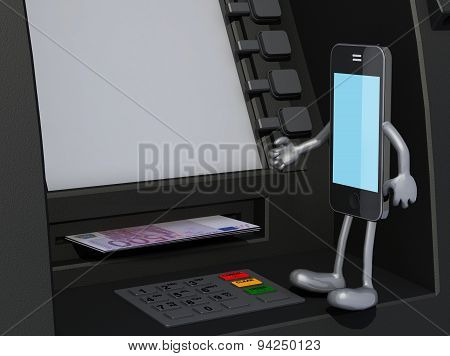 Smartphone That Is Using An Atm