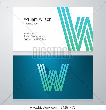 Letter W Business Card Template