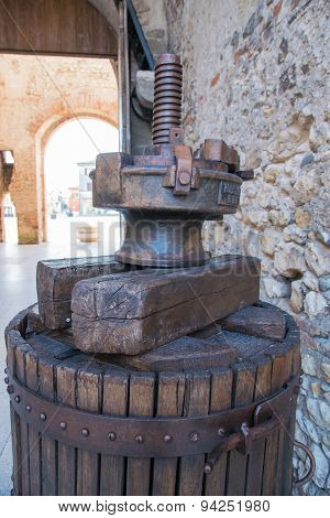 Old Wooden Manual Press Used To Press The Grapes And Make Wine